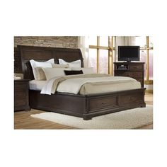 Emerald Home Furnishings Crystal Ridge Queen Storage Sleigh Bed/... ($1,139) ❤ liked on Polyvore featuring home, furniture, beds, crystal headboard, queen footboard, slat bed, drawer bed and slat headboard