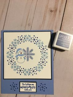 Christmas card idea Homemade Christmas Cards, Homemade Cards, Xmas Cards, Holiday Cards, Stamp Tv, Jennifer Mcguire, Snowflake Cards, Snowman Wreath, Spartacus