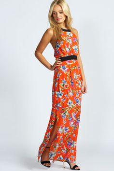 Ashleigh Floral Print Contrast Trim Maxi Dress
