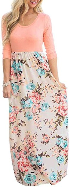 0a3bcfaf3c3 Valphsio Womens Drap Belt Elegant Maxi Dress 3 4 Sleeve Pocketed Floral  Cocktail Outfit at Amazon Women s Clothing store