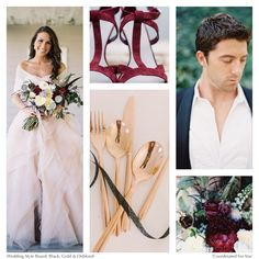 Black, Gold and Oxblood Wedding Style Board by Coordinated For You