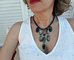 Green statement necklace Agate jewelry Chunky statement
