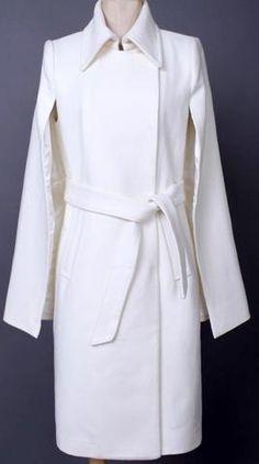 Cape Wool Coat in White or Black