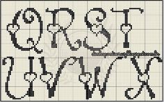 click and scroll down to get the whole alphabet Cross Stitch Alphabet Patterns, Alphabet Charts, Cross Stitch Letters, Cross Stitch Boards, Beaded Cross Stitch, Cross Stitch Designs, Stitch Patterns, Blackwork Embroidery, Embroidery Alphabet