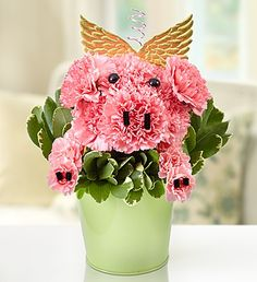 Piggy Flower Pail™- Pigs can fly! Pink carnations and mini carnations gathered to resemble a pig's head and front legs, complete with eyes, ears, nose and hooves $39.99