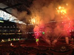 """""""As a result, you are just getting some random, blurry iPhone photos illustrating our second AMA Monster Energy Supercross event in as many weeks, this time at Detroit's own Ford Field."""" View the rest at the link...  http://reelroyreviews.com/2014/03/16/supercross-part-deux-ama-monster-energy-supercross-at-detroits-ford-field/"""