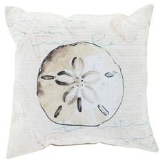 Add a nautical touch to your living room or den with this lovely pillow, showcasing a sand dollar design in beige.  Product: Pil...