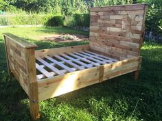 pallet made king bed frame