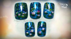 Monet's Water Lilies Nail Art
