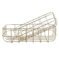 Panier rectangulaire métal filaire doré (2 modèles) House Doctor