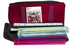 American Mah Jongg Soft Bag Case New 166 Tile Set with 4 Color Pushers, Burgundy(Discontinued by manufacturer) - Full Size American Mah Jong Set with;4 Mah Jong Racks/Pushers; Set includes: 4 each 1- 9 Dots 4 each 1- 9 Bamboo 4 each 1- 9 Characters 4 each East, West, North, South 4 each Red Dragon, Green Dragon, White Dragon (soap) 8 Flowers, 10 Jokers 2 each Autumn, Winter, Fall, Spring 4 Spares (Blank) Ti...
