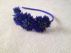 Cornflowers leather flowers headpiece, Leather headband, Bridesmaid gift, Anniversary gift, Royal blue flowers, Flowergirl heapiece by JewelryWithTaste on Etsy