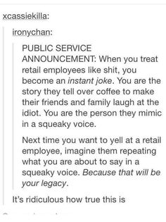 Treat retail workers with respect