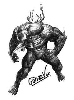 Venom, Spiderman, Marvel Comics, ilustrado por GonzaVLK:  www.facebook.com/gonza.vlk