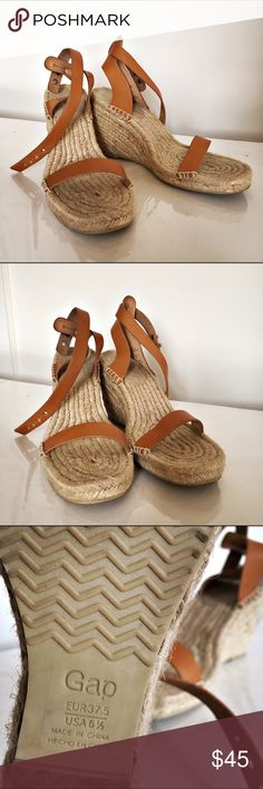 GAP thin-strap espadrilles Cute, light-weight summer wedges from Gap! Neutral color pairs well with everything. Looks great with jeans, shorts or a dress. Genuine leather. Minimalist straps add style, not bulk. Jute footbed with suede heel seat. 4 inch platform heel. Super comfortable rubber sole. Fits great on size 7 foot. Barely worn, like new. GAP Shoes Espadrilles