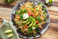 Macho Mac and Cheese Nachos - Party in your mouth! Crunchy blue corn chips, creamy nacho mac and cheese, plus all of the toppings and it's gluten-free!