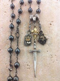 Roman Paul 18k Yellow, White Gold, Silver & Bronze Multi Charm Sword with Diamonds Necklace. #romanpaul