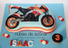 Tarta #Moto #Repsol Honda equipo Moto GP con #fondant