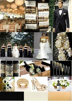 Black and gold wedding inspiration board