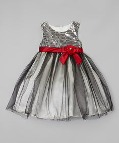 Look at this Rosenau Beck Gray & Red Sequin Dress - Girls on #zulily today!