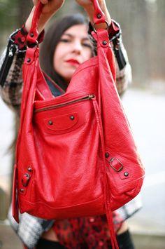 Red Balenciaga Day Bag