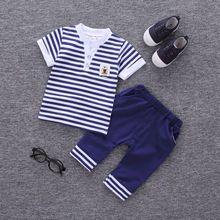 Лето 2018 г. новые модные Комплект одежды для маленьких мальчиков хлопковый материал с принтом в полоску комплект детской одежды A002(China)