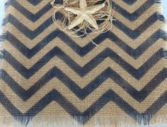 Chevron Burlap Table Runner Classic Navy Blue Wedding Natural Cotton Tablerunner 12x48 on Etsy, $27.00