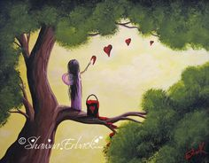 This fairy painting is called Let Your Love Speak. It's bright and colorful to add whimsical tones to your wall decor. Fine art prints are available here http://www.shawnaerback.com/erback_art_print_1090.html $20-$60