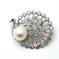 Silvertone Crystal Peacock Brooch Pin Fashion Jewerly | PammyJ Fashions