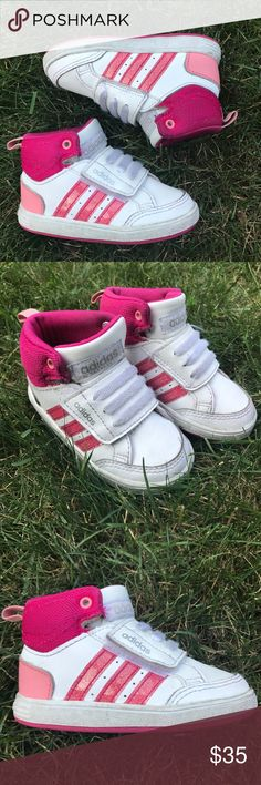"""🔥Adidas NEO hoops girls high-top sneakers 🔥 Awesome Adidas gymshoes for toddler girl! Unique pink high-top sneakers with Velcro closure under laces. Lightly used in great condition. Bundle and save!                                  No trades. 🚫.                                                           Smoke-free but 🐶 friendly home.                                       Open to reasonable offers via """"offer"""" button 😁 Adidas Shoes Sneakers"""