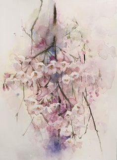 野澤奈穂子「しだれ桜(水彩)」4号大 - 一枚の繪オンラインショップ