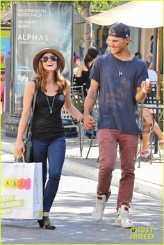 Lucy Hale & Chris Zylka: The Grove Shoppers!  Chris looks great in a Junk Food Clothing logo tee!  www.junkfoodclothing.com