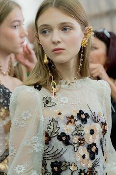 FOR THE BRIDE FROM THE RUNWAY || Gilded gold ear jewellery & statement earrings by Rodarte - Spring-Summer 2017 || Where the modern romantics play & plan the most stylish weddings... www.novelabride.com @novelabride #jointheclique