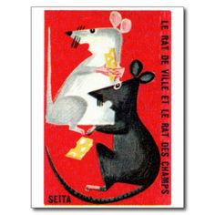Vintage French matchbox labels | ... Mouse and Country Mouse French Matchbox Label Postcard from Zazzle.com