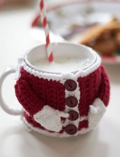 Santa Costume Mug Cosy is knit, but adorable - 10 Fabulous and Free Christmas patterns.