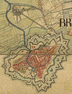 Plattegrond van Breda met linksboven Speelhuis en Belcrum berg.