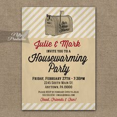 Housewarming Invitations - Printable Vintage House Warming Party Invites - DIY Retro Mailbox Housewarming Invitation by NiftyPrintables on Etsy https://www.etsy.com/listing/207511701/housewarming-invitations-printable