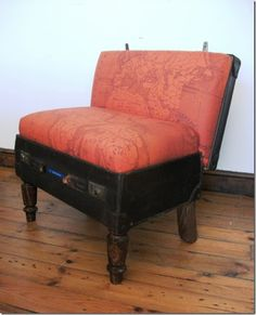suitcase chair - This fabric would be perfect in my bedroom.