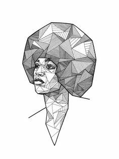 Geometric portraits ink by allison kunath via behance - Schulprojekte ideen ...