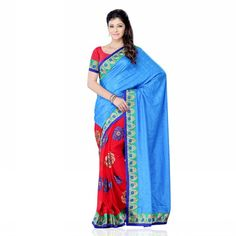Buy Jacquard And Georgette #Saree @Mozilee.com   |     MRP. Rs. 2250   |   Features: Dry Clean Only   |   COLOR: Blue And Red