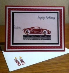 Card for my youngest grandson using SU Rev Up the Fun.  Paper is Cherry cobbler, very vanilla, black, and DSP.  The tread, car, and exhaust are all embossed using SU powder.  Hope he loves it!