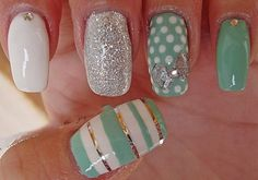 Cute mint and white, but I don't like the mix of silver glitter with gold striping tape