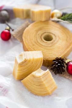 Baumkuchen is a German variety of spit cake. It is a traditional pastry of many European countries throughout, and also a popular snack and dessert in Japan.