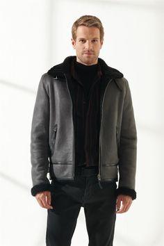 ROBERT Men Aviator Grey Shearling Jacket Black Noble   Luxury Shearling Black Shearling Jacket, Shearling Coat, Leather Jacket, Collor, Grey Pattern, Zip Ups, Pilot, Aviation, Bomber Jacket