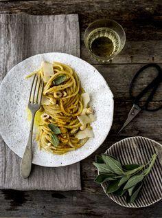 """- VANIGLIA - storie di cucina: Spaghetti alla """"carbonara"""" di zucca e curcuma, eggfree"""