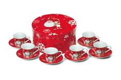 Promotiontube 12 Piece Coffee Set with #Christmas Design. Transform your customers' and employees' home into a #WinterWonderland with these cute red coffee cups and saucers with #Santa and his faithful friend, Rudolph the rednosed Reindeer!
