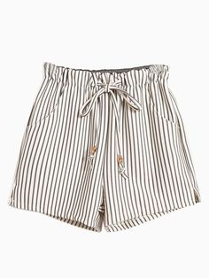 Vertical Striped Shorts With Tie Waist
