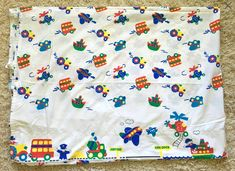 Vintage Transportation Themed Twin Bed Flat Sheet Stevens for OshKosh b'Gosh Twin Size Bed Sheets, Twin Sheet Sets, Vintage Bedding, Flat Sheets, Transportation, Twins, Flaws, Note, Ebay