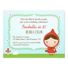 The 984 best bunny birthday theme images on pinterest bunny cute little red riding hood girl birthday party invitation stopboris Images