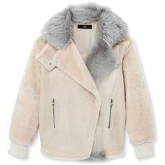 Tibi Shearling Rider Jacket (190.840 RUB) ❤ liked on Polyvore featuring outerwear, jackets, coats, multi, tibi, shearling jacket, pink jacket and tibi jacket